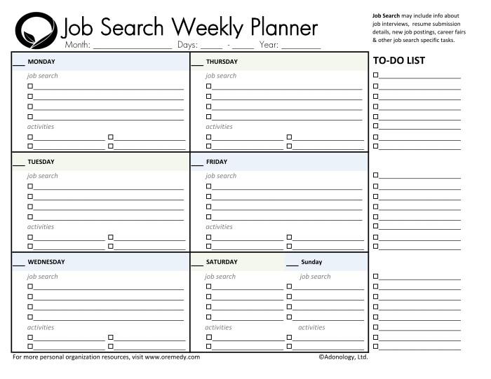 job search log template