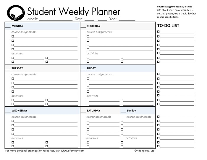 college assignment planner